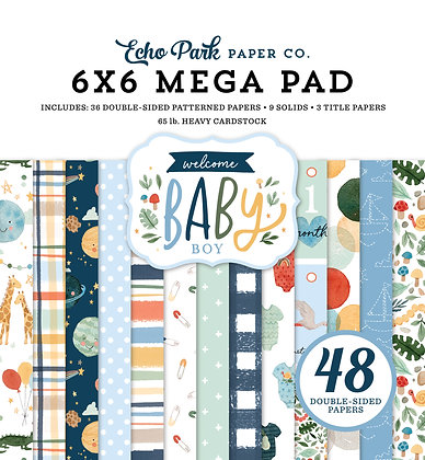 "Mega  pad Echo Park 6 x 6 inch "" Welcome baby boy """