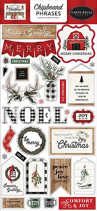 Carta Bella Chipboard phrases 6 x 13 FARMHOUSE CHRISTMAS