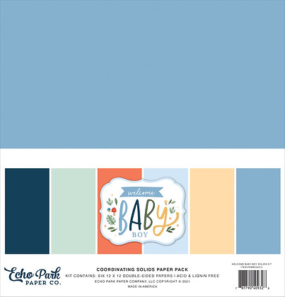 """Echo Park coordinating solids paper pack """" Welcome baby boy """""""