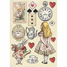 Abbellimenti in legno colorato A5   Collezione Alice di Stamperia