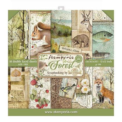 Pad scrapbooking  10 fogli collezione Forest  di Stamperia