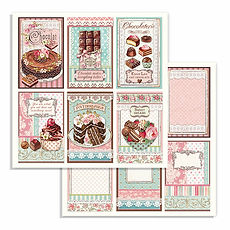 Foglio double face Chocolate cards collezione Sweety di Stamperia