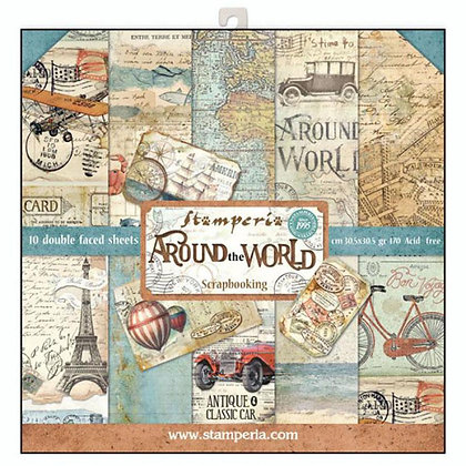 Pad scrapbooking  10 fogli collezione Around the world  di StamperiA