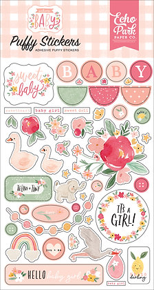 "Echo park   Puffy stickers collezione "" Welcome baby girl """