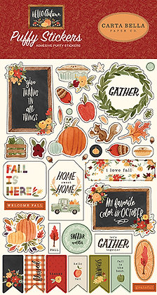 Carta Bella  Puffy stickers    Hello Autumn