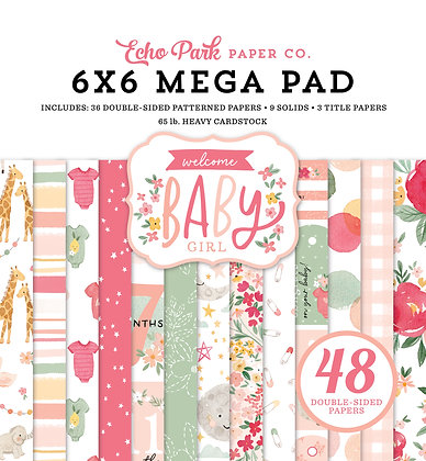 """Mega  pad Echo Park 6 x 6 inch """" Welcome baby girl """""""