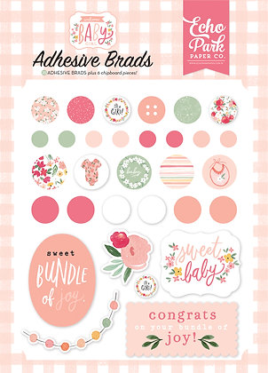 "Echo Park  Adhesive Brads  "" Welcome baby girl """