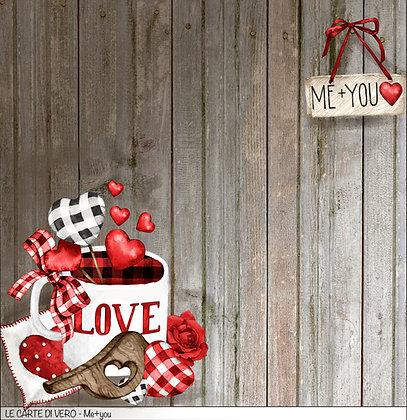 """Veroscrap - Foglio singolo """" Me + you """" collezione """" Love  """""""