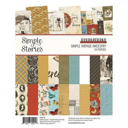 SIMPLE STORIES SIMPLE VINTAGE ANCESTRY   6 x 8 PAD