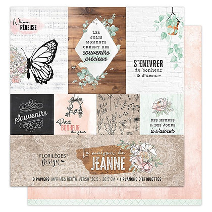 Florileges Design kit 8 carte collezione La maison de Jeanne