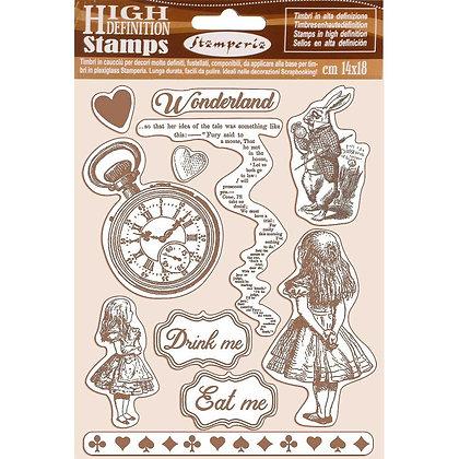 Set di 11  timbri in caucciù' collezione Alice di Stamperia