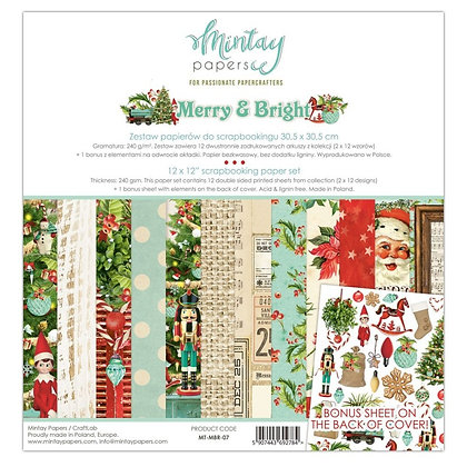 """Mintay Papers - pad 30,5 cm x 30,5 cm  collezione"""" Merry & Bright"""""""