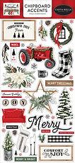 Carta Bella  Chipboard accents 6 x 13 FARMHOUSE CHRISTMAS