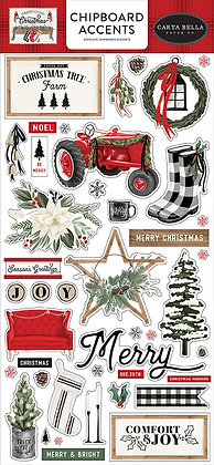 Carta Bella  Chipboard accents 6 x 13 FARMHOUSE CHRISTMAS