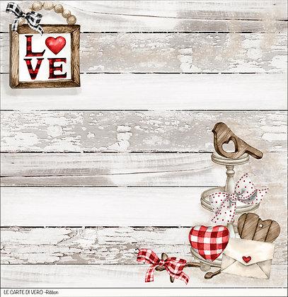 """Veroscrap - Foglio singolo """" Ribbon """" collezione """" Love  """""""