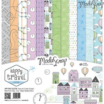 MODASCRAP PAPER PACK HAPPY TRAVEL 12X12