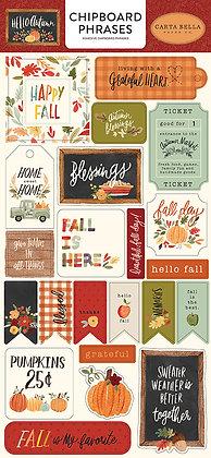 Carta Bella Chipboard phrases 6 x 13  Hello Autumn