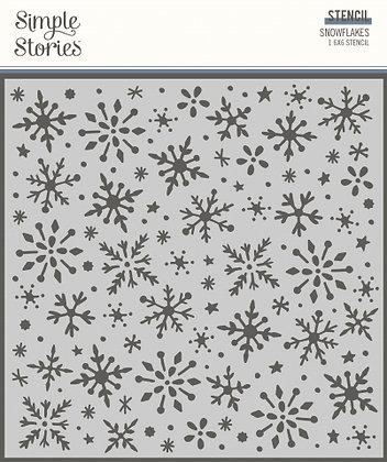 SIMPLE STORIES- WINTER COTTAGE- 6 x 6 STENCIL SNOWFLAKE