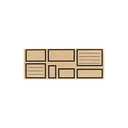 Florileges Design Timbro in legno Sept étiquettes rectangles