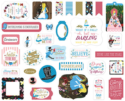 Echo Park foglio stickers  12 x 12 inch  collezione Alice in wonderland