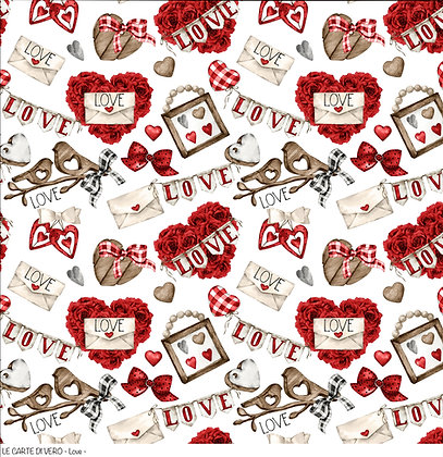 """Veroscrap - Foglio singolo """" Love   """" collezione """" Love  """""""