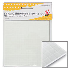 Biadesivo spessorato bianco - 400 quadratini 5 mm x 5 mm