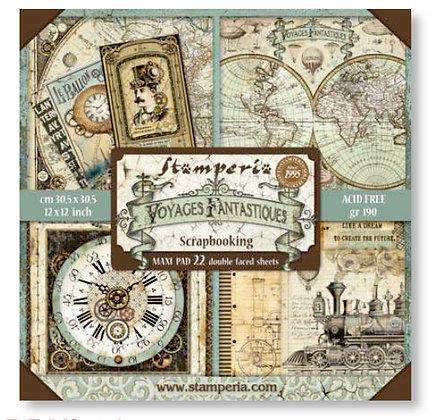 Pad scrapbooking  10 fogli collezione Voyages fantastiques di Stamperia