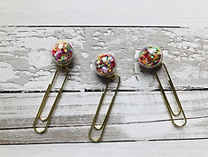 Veroscrap- Set 3 clips con mini sfere - Stelline multi color