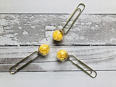 Veroscrap- Set 3 clips con mini sfere - Stelline gialle