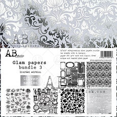 "AB STUDIO Set 6 Silver Paper "" Glam papers bundle 3 "" 12x12"