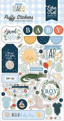 """Echo park   Puffy stickers collezione """" Welcome baby boy """""""