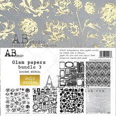 "AB STUDIO Set 6 Gold  Paper "" Glam papers bundle 3 "" 12x12"