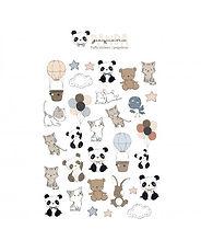 Rita Rita - Pequeno Panda  -Set Puffy  Stickers