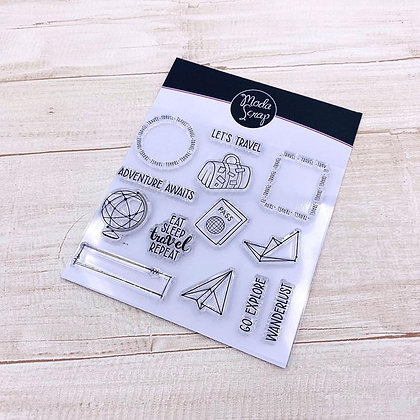 MODASCRAP CLEAR STAMPS POSTAGE TRAVEL