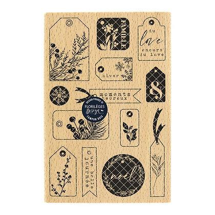 "Florileges Design Timbro in legno""Etiquettes hivernales """