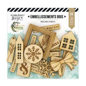 Florileges Design 20 abbellimenti in legno collezione Oh Winter