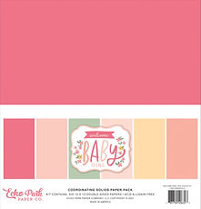 """-PREORDINE -Echo Park coordinating solids paper pack """" Welcome baby girl """""""