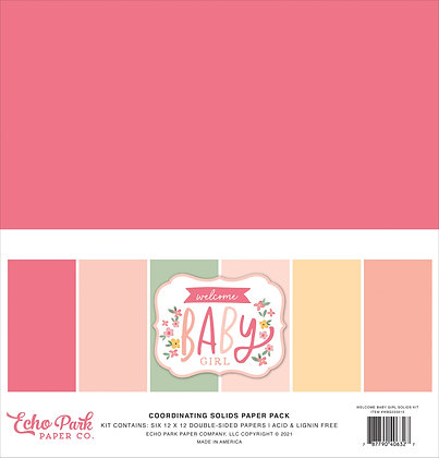 """Echo Park coordinating solids paper pack """" Welcome baby girl """""""