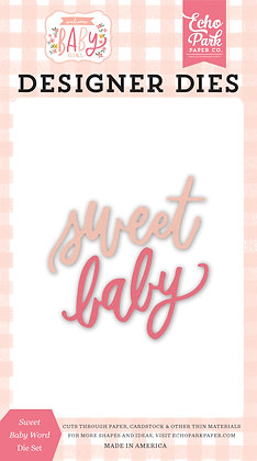 """Echo Park fustella """" Sweet baby word  """" collezione  """" Welcome baby girl """""""