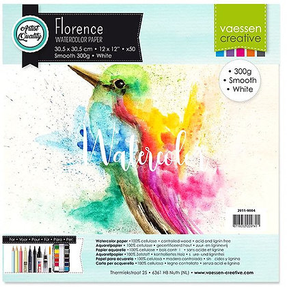 Florence carta per acquerello Smooth White 300 gr 30,5 cm x 30,5 cm