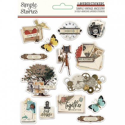 SIMPLE STORIES-SIMPLE VINTAGE ANCESTRY LAYERED STICKERS