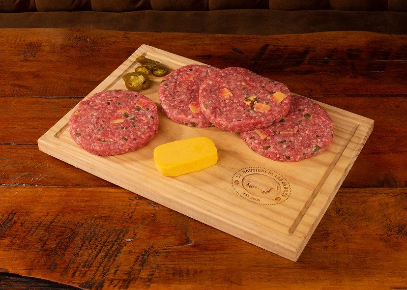 Hamburguesa queso cheddar y jalapeños  paquete  4 unidades  (150 gr c/u)