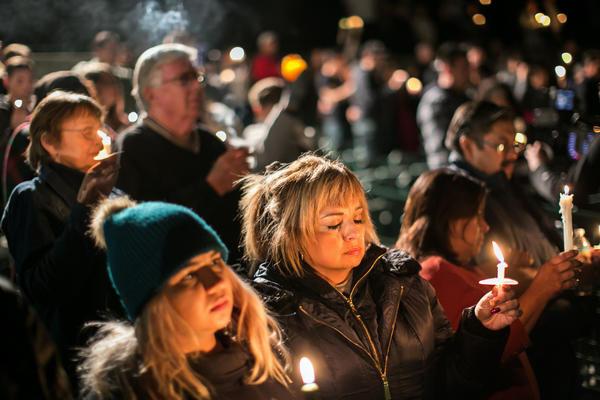 Vigil at San Manuel Stadium. (Marcus Yam / Los Angeles Times)