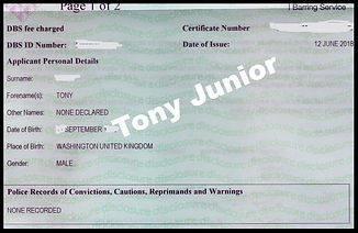 Tony Junior the etertainer DBS certificate