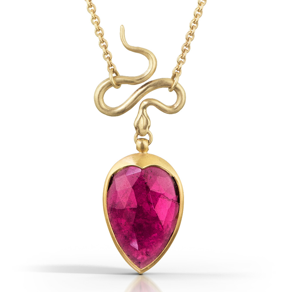 Rubellite Serpent Pendant in 18k