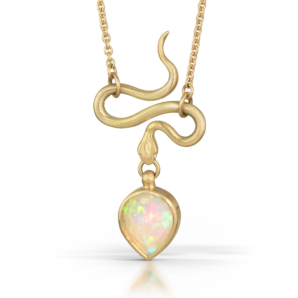 Rose Cut Opal Serpent Pendant in 18k