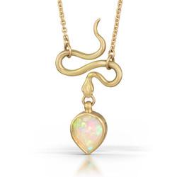 Rose Cut Opal Serpent Pendant in 18k
