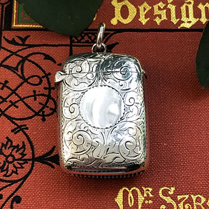 A Antique Sterling Silver Match Vesta Case Birmingham 1896.