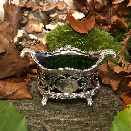 A Sterling Silver Art Nouveau Style Salt Seller With A Green Liner London 1912