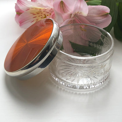 A Silver And Orange/Bronze Enamelled Dressing Table Jar French Circa 1930